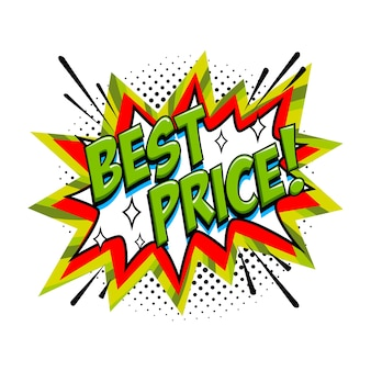 Best price comic sale bang balloon - pop art style discount promotion banner.