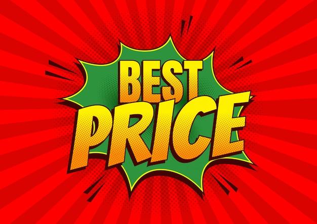Best price, comic style,  illustration.