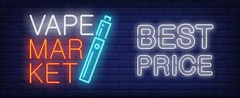 Best price in vape market neon sign. Electronic cigarette on dark brick wall.