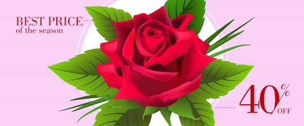 Лучшая цена сезона, сорок процентов от баннера с красной розой и листьями в круглой рамке