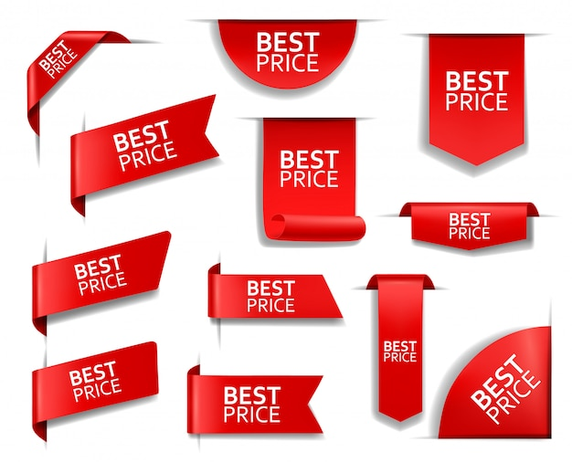 Best price red banners, labels, tags, corners