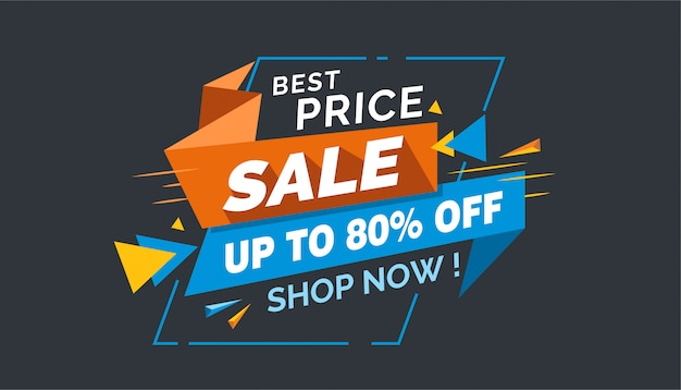 Best price sale, colorful sale banner