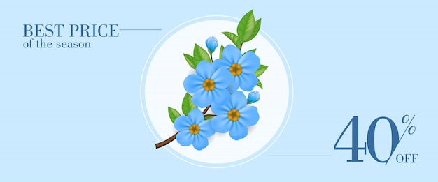 Best price of season forty percent off banner with blue flowers in round frame