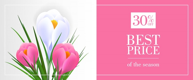 Best price of season, thirty percent off banner with snowdrops on pink and blue background
