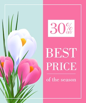 Best price of season thirty percent off poster with snowdrops on pink and blue background
