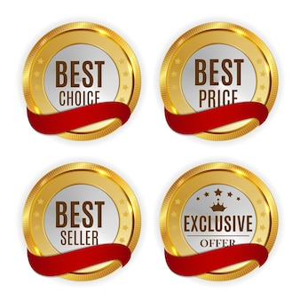 Best price, seller, choice and exclusive offer golden shiny badge