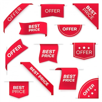Best price tag banners or labels  set