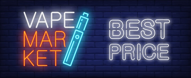 Best price in vape market neon sign. electronic cigarette on dark brick wall. Free Vector