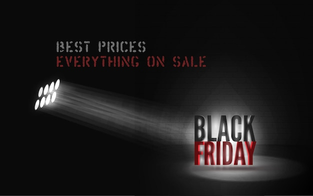 Best prices promo vector banner template. powerful searchlight illuminating black friday lettering in darkness. stylish discount offer advert. everything on sale vintage font poster design layout