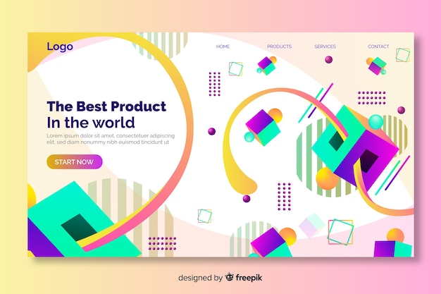 Best product 3d geometrical landing page