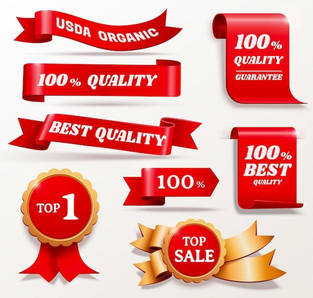 Коллекция значков призов лучшего качества в красном и золотом цвете, 3d иллюстрация