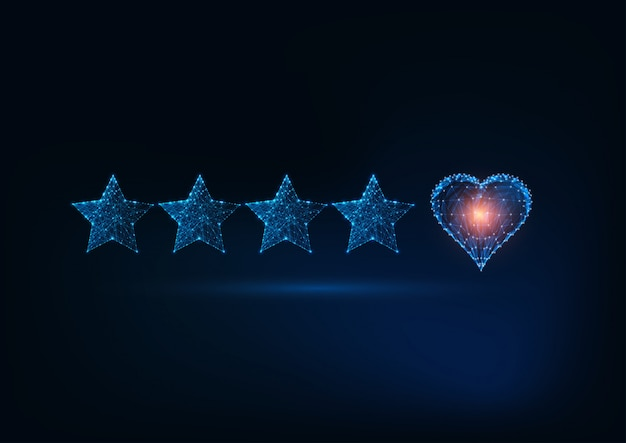Best quality service with futuristic glowing low poly five stars and heart
