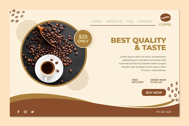 Best quality and taste coffee landing page
