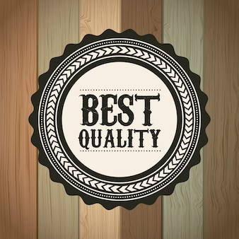 Best quality over wooden background vector illustration