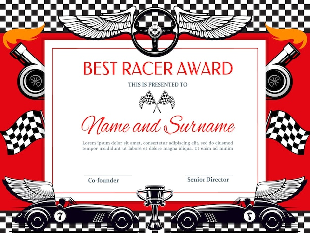 Best racer award diploma. racing winner border with black and white chequered flag, winged car and cup