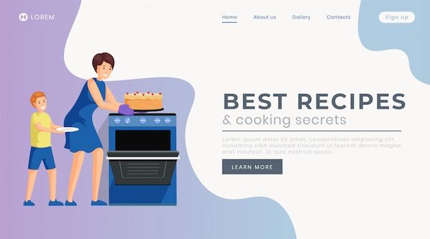 Best recipes landing page  template.