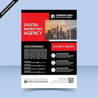 最高の赤黒デジタルマーケティング代理店チラシテンプレートデザイン