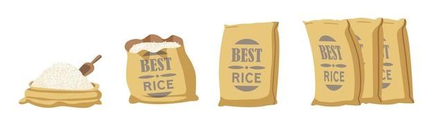 最高のライスバーラップバッグ、農場生産穀物のオープンサック、ブラウンテキスタイルベールのスクープ。印刷ロゴが付いている閉じた袋は、白い背景で隔離の列に立っています。漫画のベクトル図