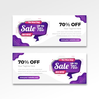 Best sale banner in gradient flat design