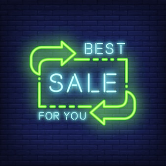 Best sale for you lettering in neon style. glowing text and green direction