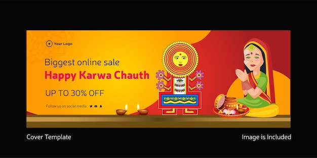 Best sale offer happy karwa chauth cover page design template