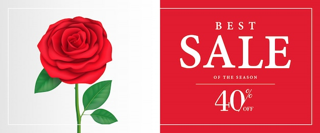 Best sale of season, forty percent off banner with rose on red background.