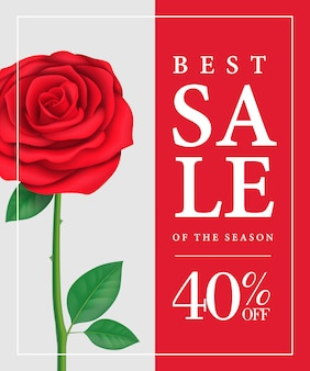 Best sale of season, forty percent off poster with red rose.