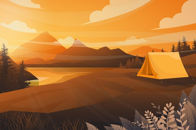 Best scene of tent camping in nature landscape of mountain, river and forest with sunray of sunset in evening in warm tone.  illustration