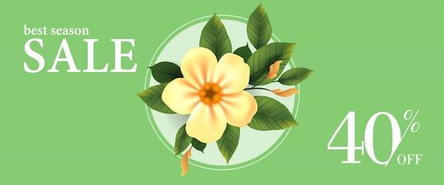 Лучшая распродажа сезона сорок процентов от баннера с желтым цветком и листьями в круглой рамке