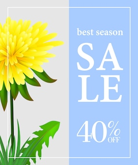 Best season sale forty percent off poster with dandelion on light blue and grey background
