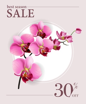 Best season sale, thirty percent off poster with pink flowers and white circle.