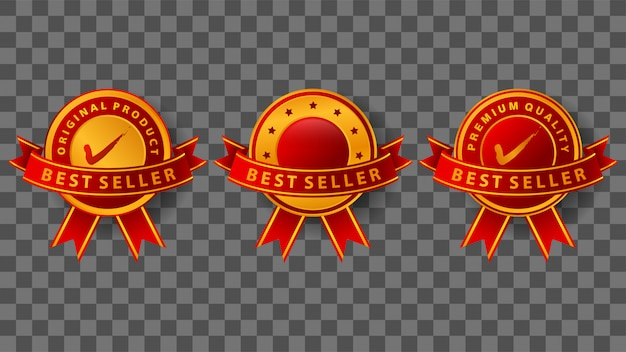 Best seller badge with elegant gold and red ribbons