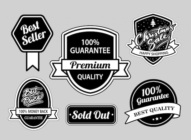 Best seller and christmas sale badges black and white good