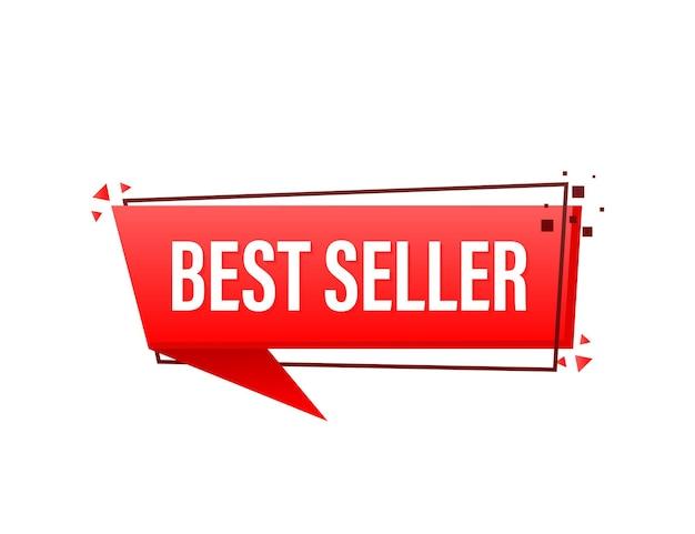 Best seller red banner on white