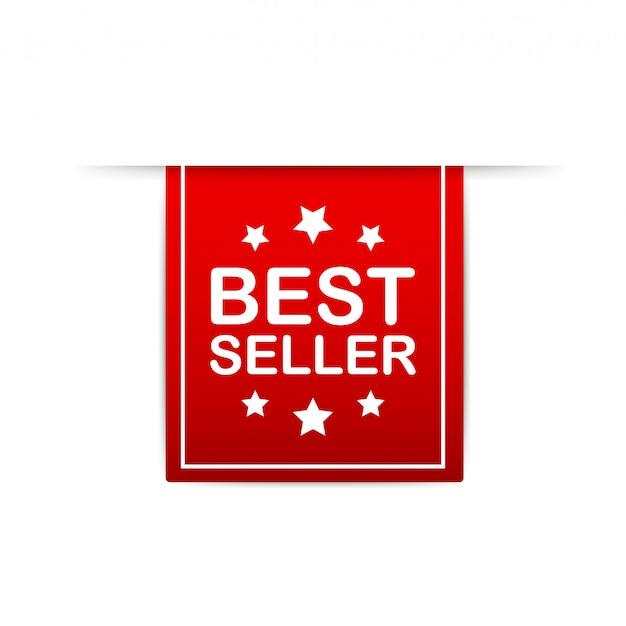 Best seller red label. red web ribbon.  illustration.
