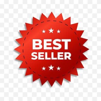 Best seller red ribbon isolated. business label. vector eps 10