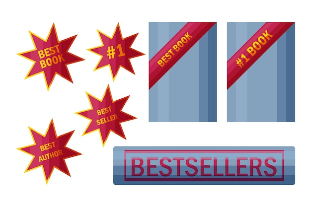 Наклейки и знаки бестселлеров этикетки для лучших продавцов книг в мультяшном стиле