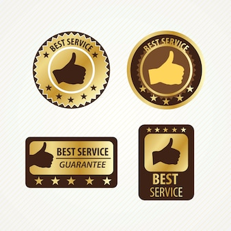 Best service labels set golden and brown colors