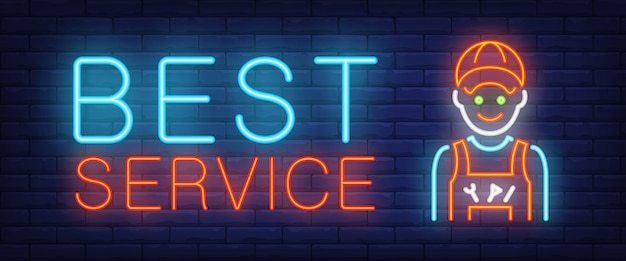 Best service sign in neon style