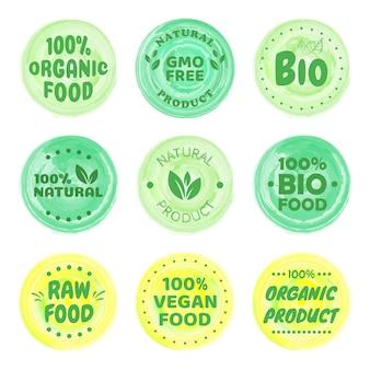 베스트 세트 바이오, 비건, 생태, 유기농 로고 및 배지, 라벨, 태그. 일러스트 디자인.