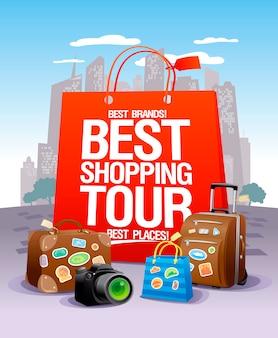 最高のショッピングツアーのデザインコンセプト、大きな赤い紙袋、スーツケース、カメラ