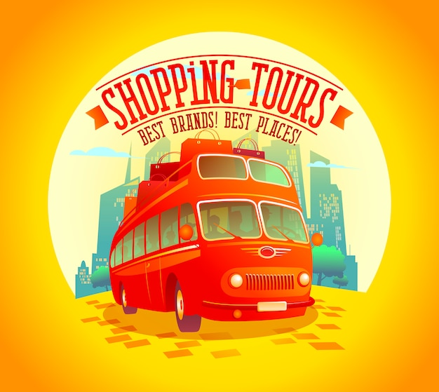 Best shopping tours design with riding double-decker bus and many paper bags on it, against sunset city background