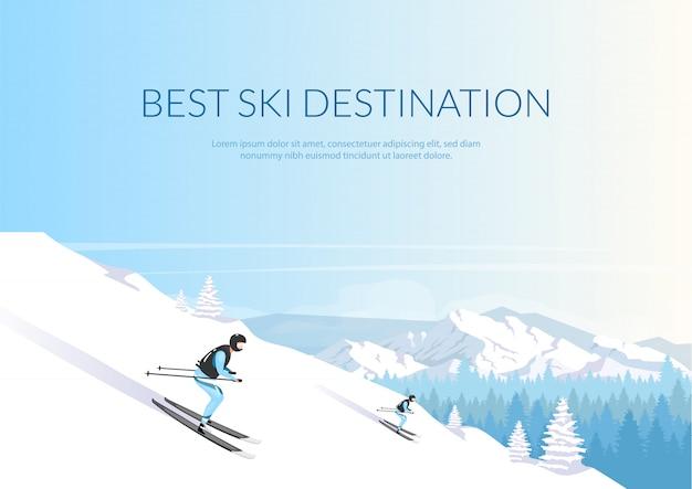 最高のスキー先バナーフラットテンプレート