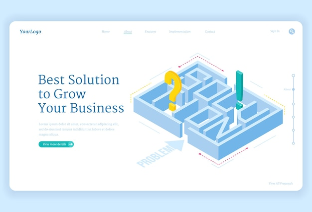 Best solutions for business grow isometric landing page with maze and question or exclamation marks inside, labyrinth challenge, aim achievement strategy, professional problem solve, 3d web banner