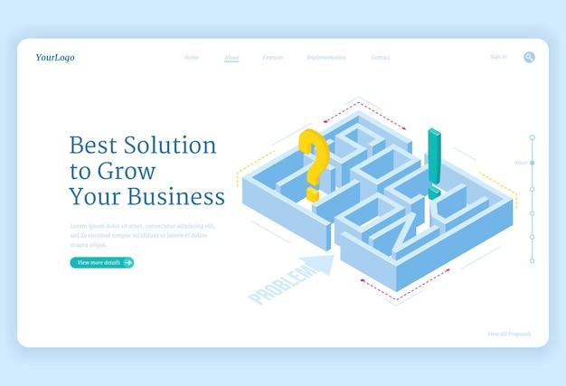 ビジネスに最適なソリューションは、迷路と質問または感嘆符が入ったアイソメトリックランディングページ、迷路の挑戦、目標達成戦略、専門的な問題解決、3dwebバナーを成長させる