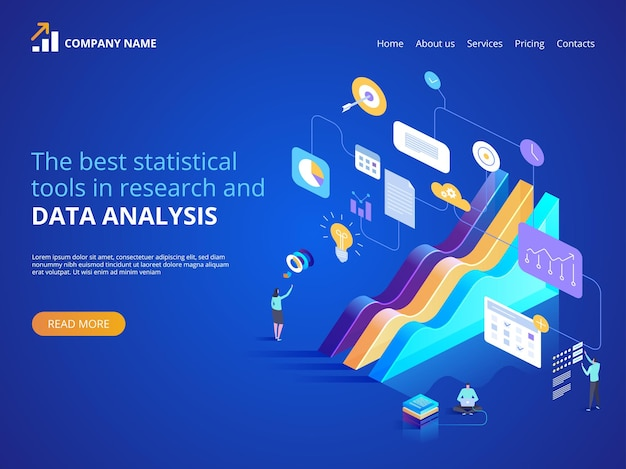 The best statistical tools in research and data analysis.  isometric illustration for landing page, web design, banner and presentation.