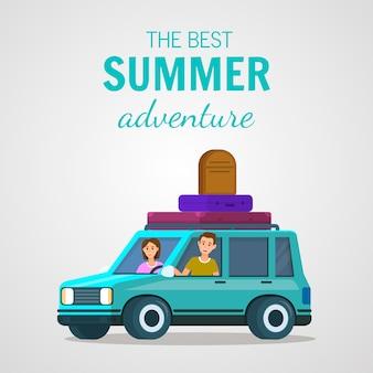 Best summer adventure square banner. happy couple