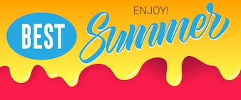 Best, summer, enjoy lettering on dripping paint. Summer offer or sale advertising