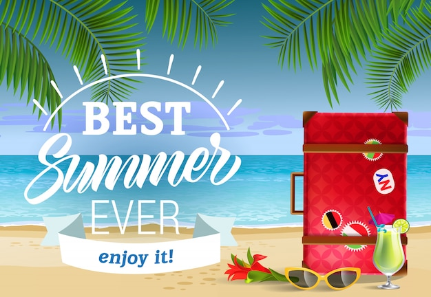 Best summer ever, enjoy it lettering with sea beach and cocktail. sale advertising