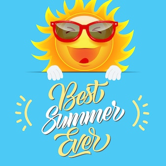 Best summer ever greeting card with joyful cartoon sun in sunglasses